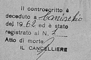 Death Annotation on Birth Record Canischio, Italy